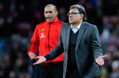 Head coach Gerardo 'Tata' Martino of FC Barcelona reacts during the La Liga match between FC Barcelona and Elche FC at Camp Nou on January 5, 2014 in Barcelona, Catalonia.