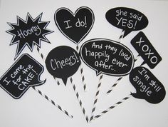 8 Chalkboard Photo Booth Props Speech Bubbles Chalk Board message signs with messages & straw sticks Party Photo Decorations wedding shower Party Decoration, Wedding Decorations, Photo Decorations, Birthday Decorations, Diy Photo Booth, Photo Props, Free Wedding, Our Wedding, Wedding Stuff