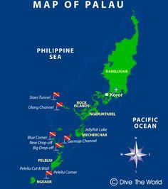Mapa de Palau, Micronesia: Koror y Peleliu - Dive The World