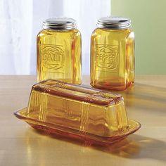 Amber Depression Era Glass replica Salt and pepper shakers