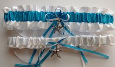 On Sale White and Turquoise Wedding Garter by WeddingGarterStore, $15.19
