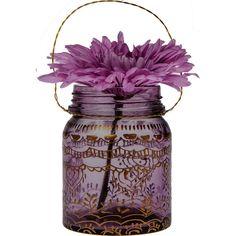 Moroccan Mehndi Design Small Mason Jar (4-Inch, Amethyst Purple) - For... found on Polyvore featuring home, home decor, flowers, purple home decor, cultural intrigue, purple home accessories and moroccan home decor