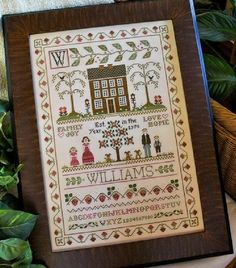 Little House Needleworks Family Sampler, The - Cross Stitch Pattern. Model stitched on 32 count Vintage Buttercream by Lakeside Linens using Crescent Colours (R Cross Stitch Family, Cross Stitch Love, Cross Stitch Samplers, Cross Stitch Kits, Cross Stitch Designs, Cross Stitching, Cross Stitch Patterns, Embroidery Sampler, Cross Stitch Embroidery