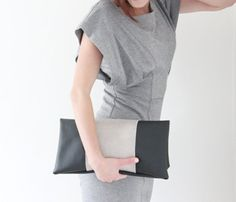 Leather Two-Toned Clutch