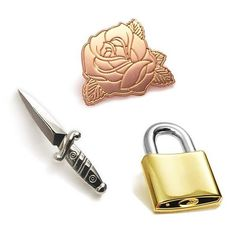 """New pins by @toughtimespress. .  All available now in their online store. .  The link to their store is clickable in their bio. .  Check them out today for these cool pins. Also other #patches and pins available see the full range in the online shop. .  Silver Dagger Rose Gold Rose & Golden Padlock from their """"Danger/Love/Respect"""" series. .  #toughtimespress #rosegold #gold #silver #dagger #rose #padlock #pingame #lapelpin #lapelpins #enamelpin #EnamelPins #hatpins #pinsofig #pinstagram…"""