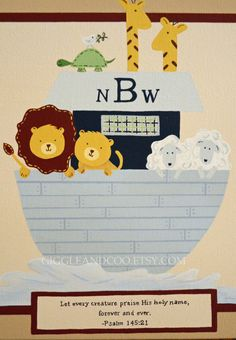 Personalized+Nursery+Art+Noah's+Ark+Original+by+GiggleandCoo