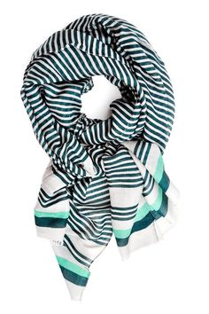 Variegated stripes in shades of spearmint and spruce give a patterned look to cool-weather layering.