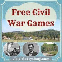 Civil War Activities, Free Civil War Games for All Ages - Visit Gettysburg American Revolutionary War, American Civil War, American History, Captain American, Native American, Star Citizen, Civil War Activities, History Activities, Teaching History