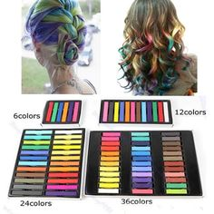 6 12 24 36 Easy Temporary Colors Non-toxic Hair Chalk Dye Soft Hair Pastels Kit  #Unbranded