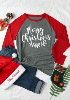 Grey Patchwork Monogram Print Long Sleeve Round Neck Casual Christmas T-Shirt