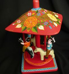 Olinala Lacquered Carousel Mexican Folk Art