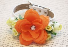 Yellow Orange floral Dog Collar. Yellow and Orange Flowers-High Quality Leather Collar- Yellow Orange Wedding Dog Accessory