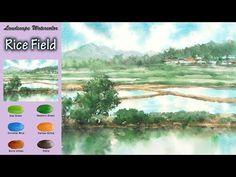 Watercolor Video, Watercolour Tutorials, Watercolor Landscape, Watercolour Painting, Champs, Spring Landscape, Art Lessons, Art Reference, Arches