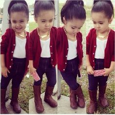2PCS HOT Baby Girl red long-sleeved jacket + jeans suit 2-7T
