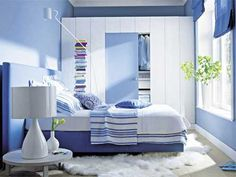 blue and white decorating, wall paint and bedding