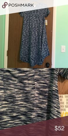 BNWT XXS LuLaRoe Carly Bright blue and light blue, very soft. LuLaRoe Dresses
