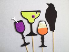 Halloween Drink Photo Prop Set - Halloween Photo Booth Props