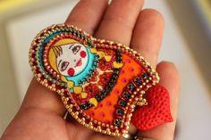 Matryoshka pin, nesting doll by Fantasiria OOAK on Etsy