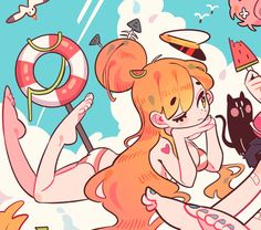 i crave summer warmth and beauty Cute Art Styles, Cartoon Art Styles, Character Design References, Character Art, Wow Art, Kawaii Art, Character Design Inspiration, Pretty Art, Aesthetic Art