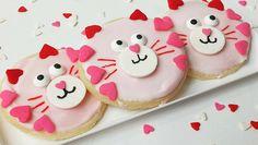 valentines cat cookie