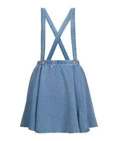 Teens Blue Denim Braces Skater Skirt