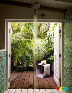 Bathroom:Decorating Modern Summer Bathroom Decor Style Tropical Bath Tubs Ideas Contemporary Bathrooms Interior Minimalist Design Decoration Plans Bathroom With A Tropical Garden View Cool and Cozy Summer Bathroom Style : Modern Seasonal Decor Ideas Modern Style Bathroom, Outdoor Bathrooms, Garden View, House Inspiration, Contemporary Bathrooms, Kitchen Design Styles, Bathroom Style, Green Bathroom, Seasonal Decor