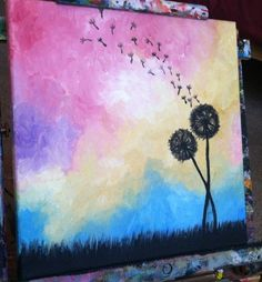 Dandelions Abstract acrylic painting....absolutely gorgeous colors!!