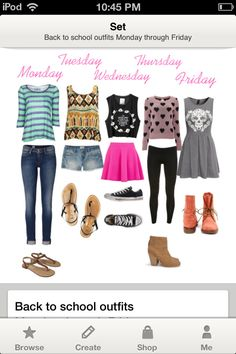 Monday /Tuesday /Wednesday /Thursday /Friday school outfits  Polyvore