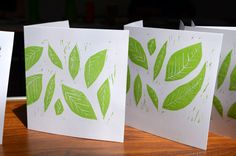 Leaf linocuts printed in green onto cards as part of the relief printing workshop 21.06.14. by Madeleine Aylett  http://www.magenta-sky.com/student-work