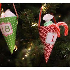 Classic Holiday Christmas Printable Advent Calendar Treat Cones ...