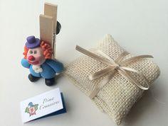 Bomboniera Clown portamemo con portaconfetti in juta naturale www.100cheapandchic.com