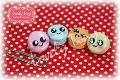 4 pieces set of Kawaii Macarons with face for making jewelry Fashion charms #Loveltiny