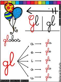Carteles de Silabas - Simples y Trabadas - Imagenes Educativas Bilingual Education, School Colors, I School, Writing Prompts, Glee, Psp, Totoro, Handwriting, Fun Activities