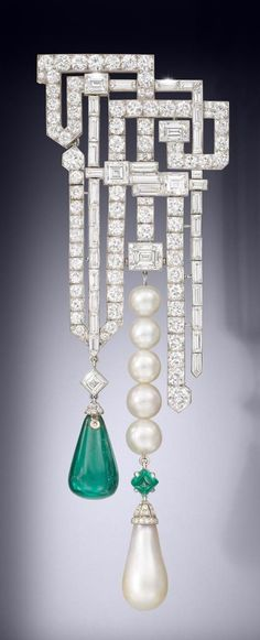 A magnificent and rare art deco natural pearl, emerald and diamond brooch, by Van Cleef & Arpels, 1926