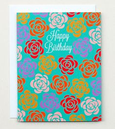Happy Cactus Designs // Happy Birthday Roses Card