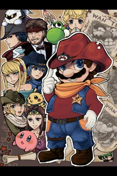 A Western Smash! With Link, Ganondorf, Zero Suit Samus, Zelda, Bowser, Yoshi, Snake, Marth, Meta Knight, Kirby, Pikachu, Peach, Wario and Ike.
