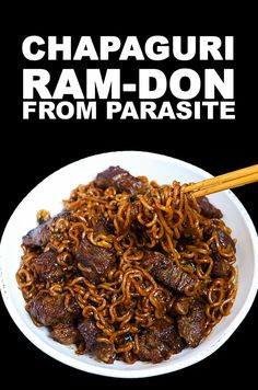 Chapaguri AKA Ram-don Parasite Recipe & Video - Seonkyoung Longest Chicken Recipes Video, Ramen Recipes, Fried Chicken Recipes, Tea Recipes, Korean Recipes, Korean Food, Korean Dishes, Noodle Recipes, Recipes