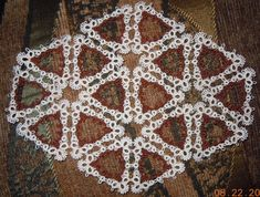 Tatted  DOILY  ready-made Tatting  Ecru/Chocolate in Color on Etsy, $85.99