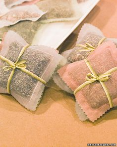 Organza Sachets - The sweet-smelling herbs in these easy-to-make pouches are the key to this gift's beauty and practicality, turning each sachet into an alternative to mothballs.  Instructions here.