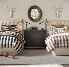 Amazing bedroom for guest room or little boy room! Room, Beautiful Bedrooms, Home, Home Bedroom, Twin Bedroom, Bedroom Design, Room Inspiration, Bedroom Inspirations, Boy Room