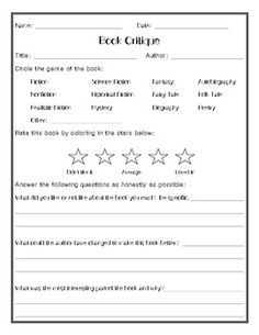 FREEBIE!  Often times, students aren't given enough opportunities to honestly tell someone how they felt about a book they have read. Being able to critique a book and share that with classmates can spark great discussion in your classroom, and expose other students to books or genres they might not otherwise have considered.