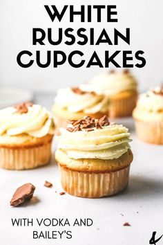 How to Make White Russian Cupcakes. These easy cocktail cupcakes have vodka and Baileys to make them extra special! Plus they start with a box cake mix! Fudge Recipes, Vegan Recipes Easy, Cupcake Recipes, Cupcake Cakes, Dessert Recipes, Cup Cakes, Baileys Recipes, Icing Recipes, Book Cakes