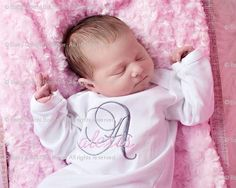 Baby Girl Custom Monogrammed Onesie or Gown - Initial and Name - Newborn thru 12 months - CHOOSE THREAD COLORS