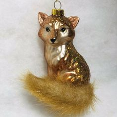 Fur Tail, Glass Red Fox Christmas Tree Ornament w/ Glitter Fox Ornaments, Glass Ornaments, Christmas Tree Ornaments, Christmas Lights, Merry Christmas, Grey Fox, Christmas Themes, Carving, Glitter