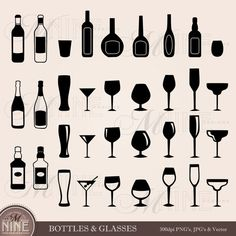 CELEBRATION BOTTLES & GLASSES Clipart Cross Clip Art Vector Art File, Instant Download, Wine Liqour Martini Margharita Black Silhouette