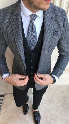 Grey Suits - Giorgenti New York Black Suit Wedding, Wedding Suits, Wedding Groom, Mens Fashion Suits, Mens Suits, Dapper Suits, Mens Custom Suits, Male Fashion, Fashion 2020