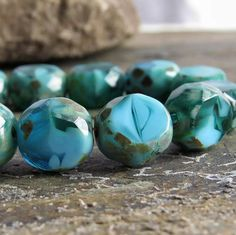 Lagoon Picasso Turquoise Czech Glass Bead 12mm by BobbiThisnThat