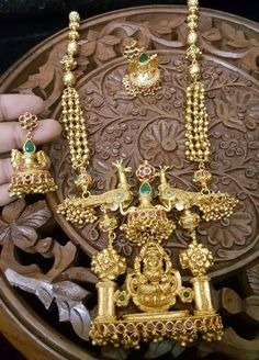 Gold Plated Antique Long Necklace Designs with Price Details.
