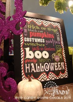 Eye Candy Event Details: Using FREE Halloween Chevron Subway Art & to Decorate the Mantel