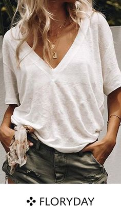 Women Summer Tshirt Streetwear Concise Casual Tee Shirt Femme All-match Solid Color Loose Short Sleeve V-collar T-shirts Batwing Sleeve, Short Sleeve Blouse, Half Sleeves, Types Of Sleeves, Casual T Shirts, Tee Shirts, Casual Pants, Camisa Vintage, Mode Kimono